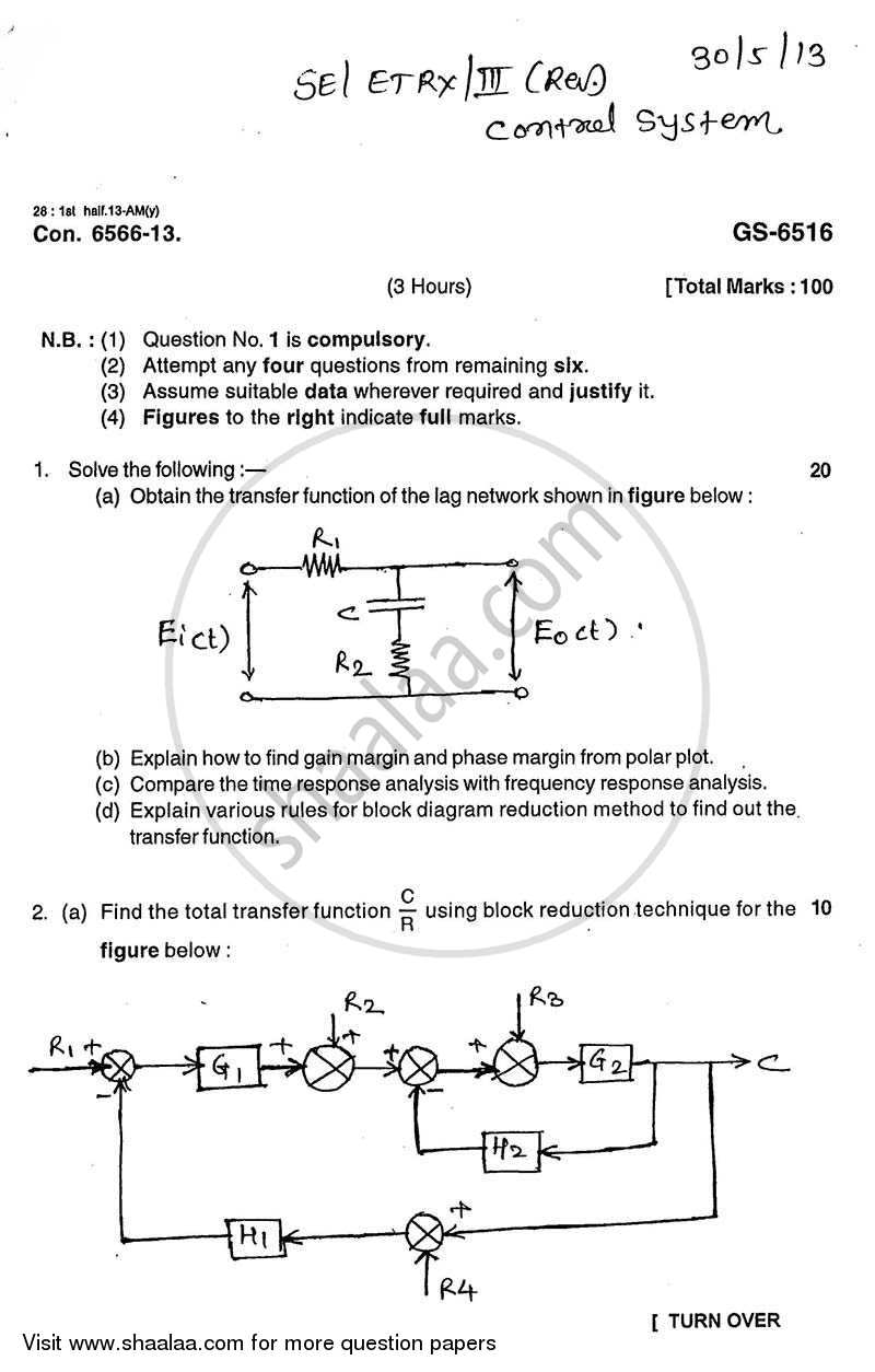Question Paper - Control System 2012 - 2013 - B.E. - Semester 3 (SE Second Year) - University of Mumbai
