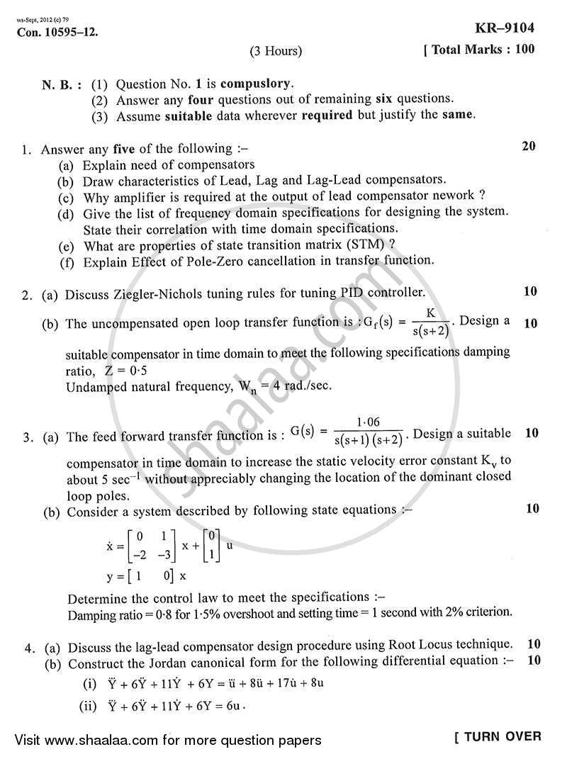 Control Systems Design 2012-2013 - B.E. - Semester 6 (TE Third Year) - University of Mumbai question paper with PDF download
