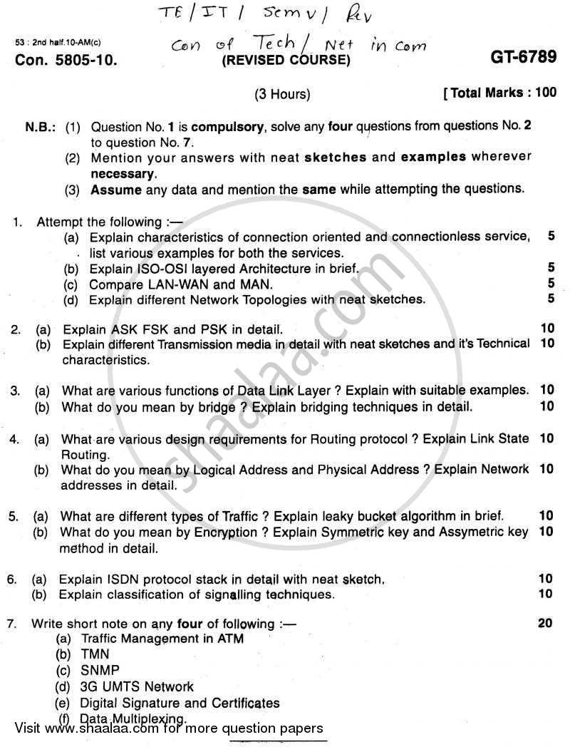 Question Paper - Convergence of Technologies and Networking in Communication 2010 - 2011-B.E.-Semester 5 (TE Third Year) University of Mumbai