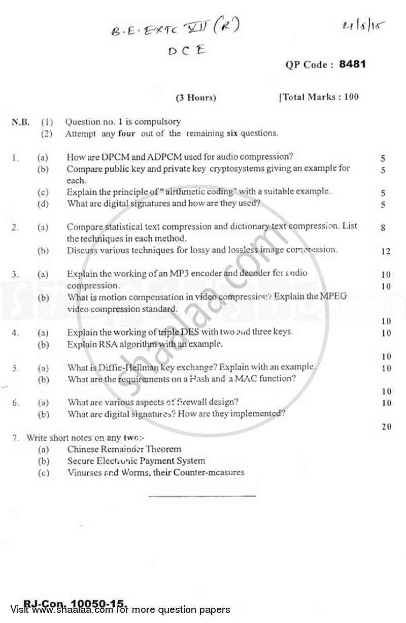 Question Paper - Data Compression and Encryption 2014 - 2015 - B.E. - Semester 7 (BE Fourth Year) - University of Mumbai