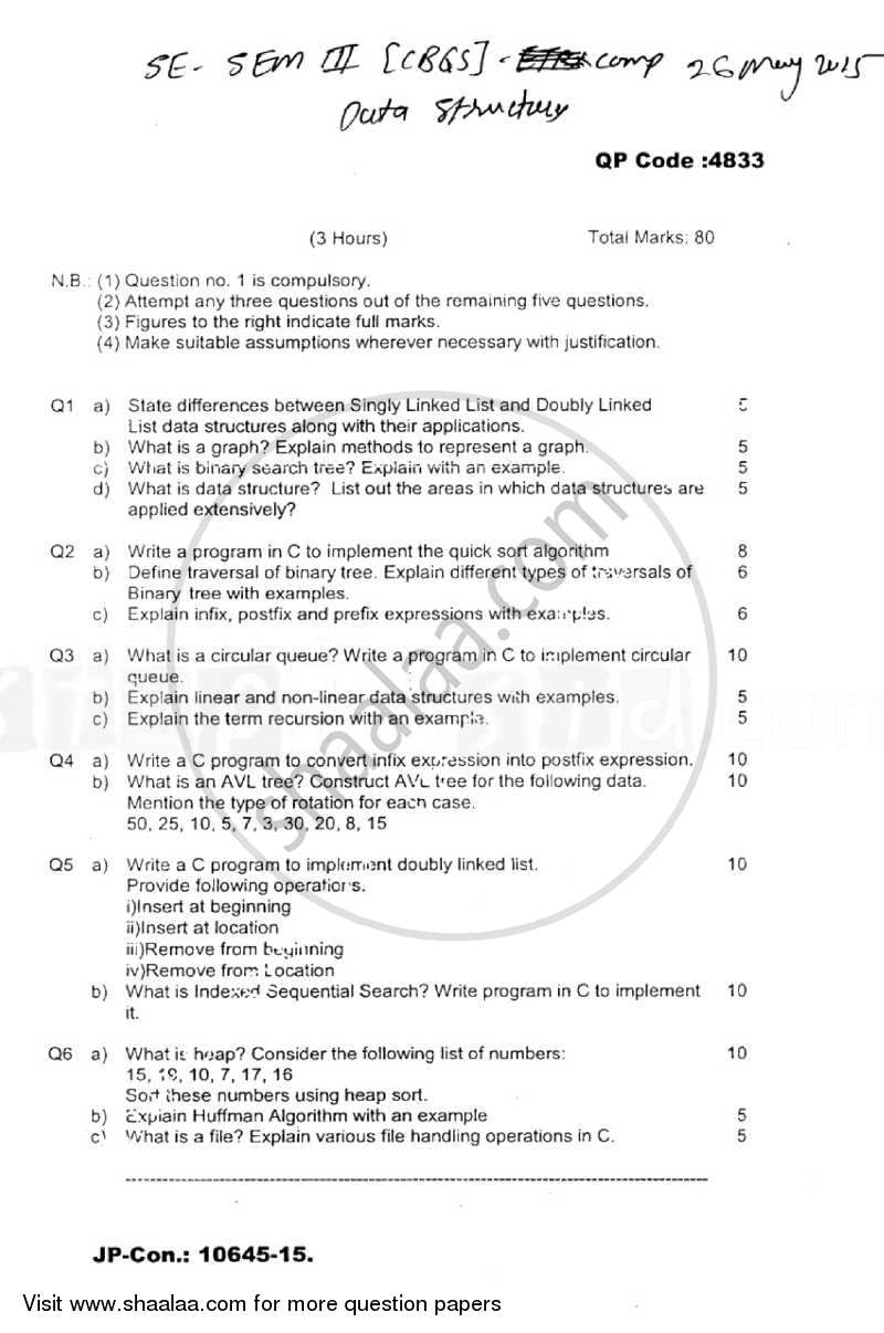 Question Paper - Data Structures 2014 - 2015 - B.E. - Semester 3 (SE Second Year) - University of Mumbai
