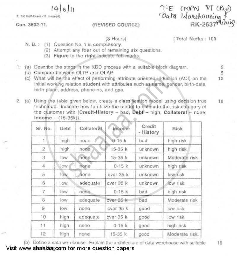 Question Paper - Data Warehousing and Mining 2010 - 2011 - B.E. - Semester 8 (BE Fourth Year) - University of Mumbai