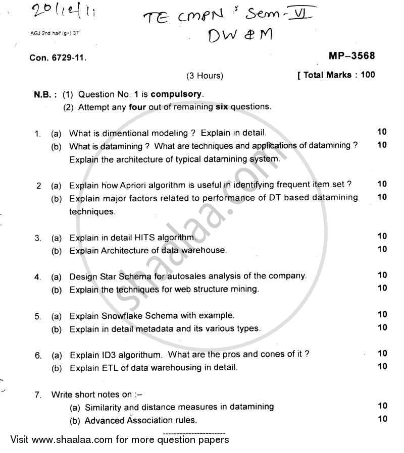 Question Paper - Data Warehousing and Mining 2011 - 2012 - B.E. - Semester 8 (BE Fourth Year) - University of Mumbai
