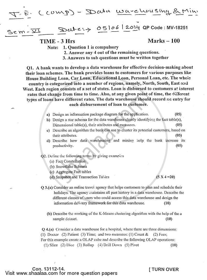 Question Paper - Data Warehousing and Mining 2013 - 2014 - B.E. - Semester 8 (BE Fourth Year) - University of Mumbai