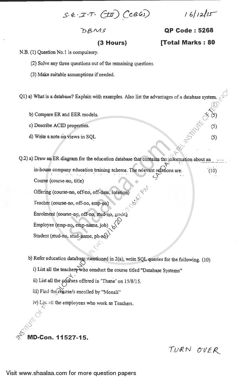 Question Paper - Database Management Systems 2015 - 2016 - B.E. - Semester 3 (SE Second Year) - University of Mumbai