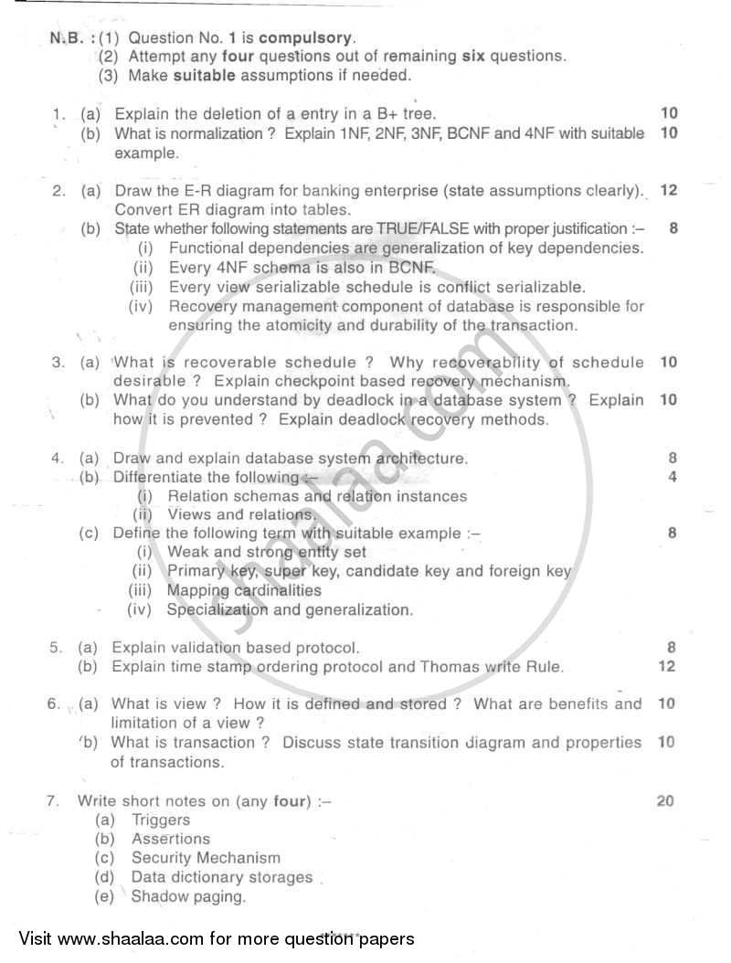 Question Paper - Database Management Systems 2007 - 2008 - B.E. - Semester 4 (SE Second Year) - University of Mumbai