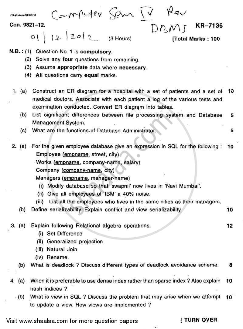 Question Paper - Database Management Systems 2012 - 2013 - B.E. - Semester 4 (SE Second Year) - University of Mumbai