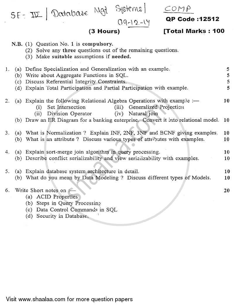 Question Paper Database Management Systems 2014 2015 Be Computer Security And Integrity Dbms Semester 4 Se