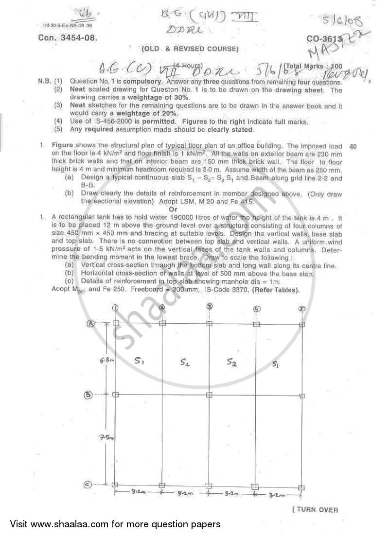 Design and Drawing of Reinforced Concrete Structures 2007-2008 - B.E. - Semester 8 (BE Fourth Year) - University of Mumbai question paper with PDF download