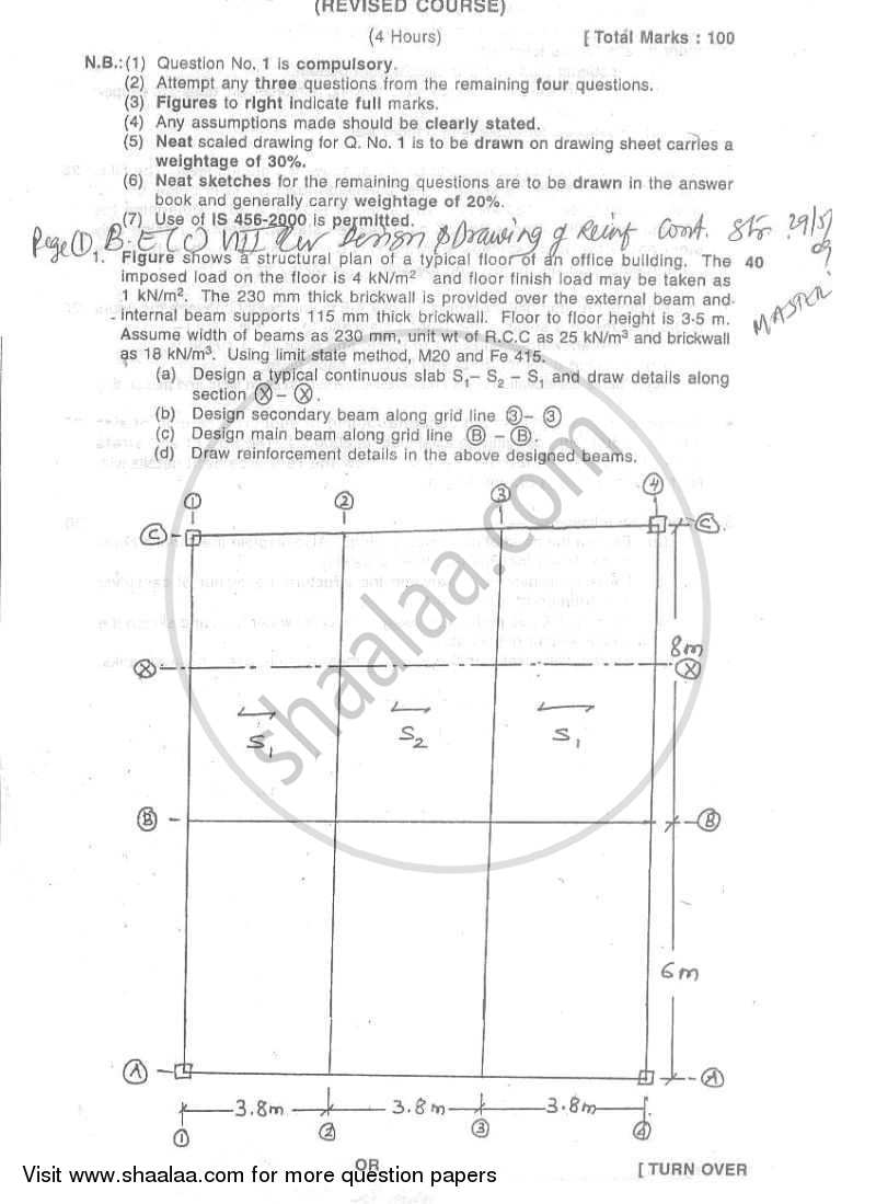 Design and Drawing of Reinforced Concrete Structures 2008-2009 - B.E. - Semester 8 (BE Fourth Year) - University of Mumbai question paper with PDF download