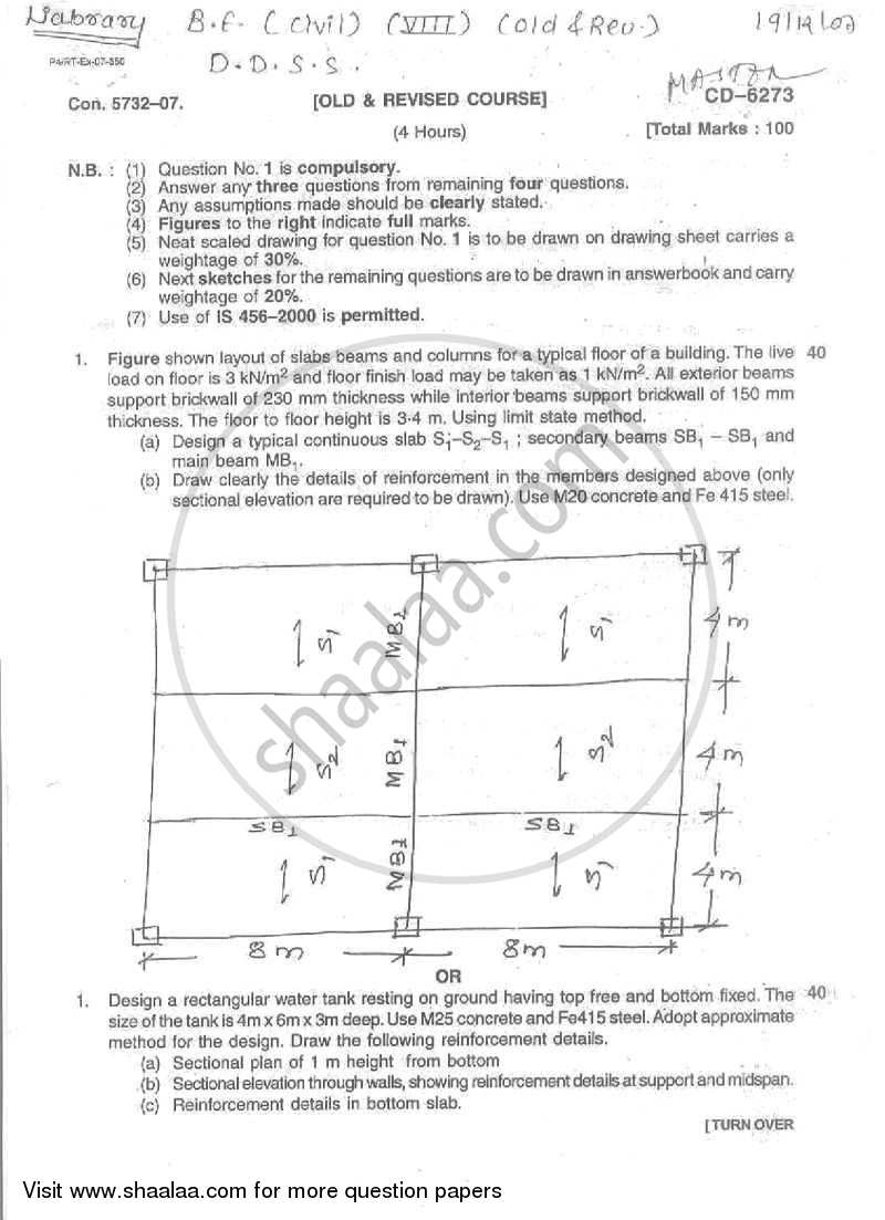 Question Paper - Design and Drawing of Steel Structure 2007 - 2008 - B.E. - Semester 6 (TE Third Year) - University of Mumbai