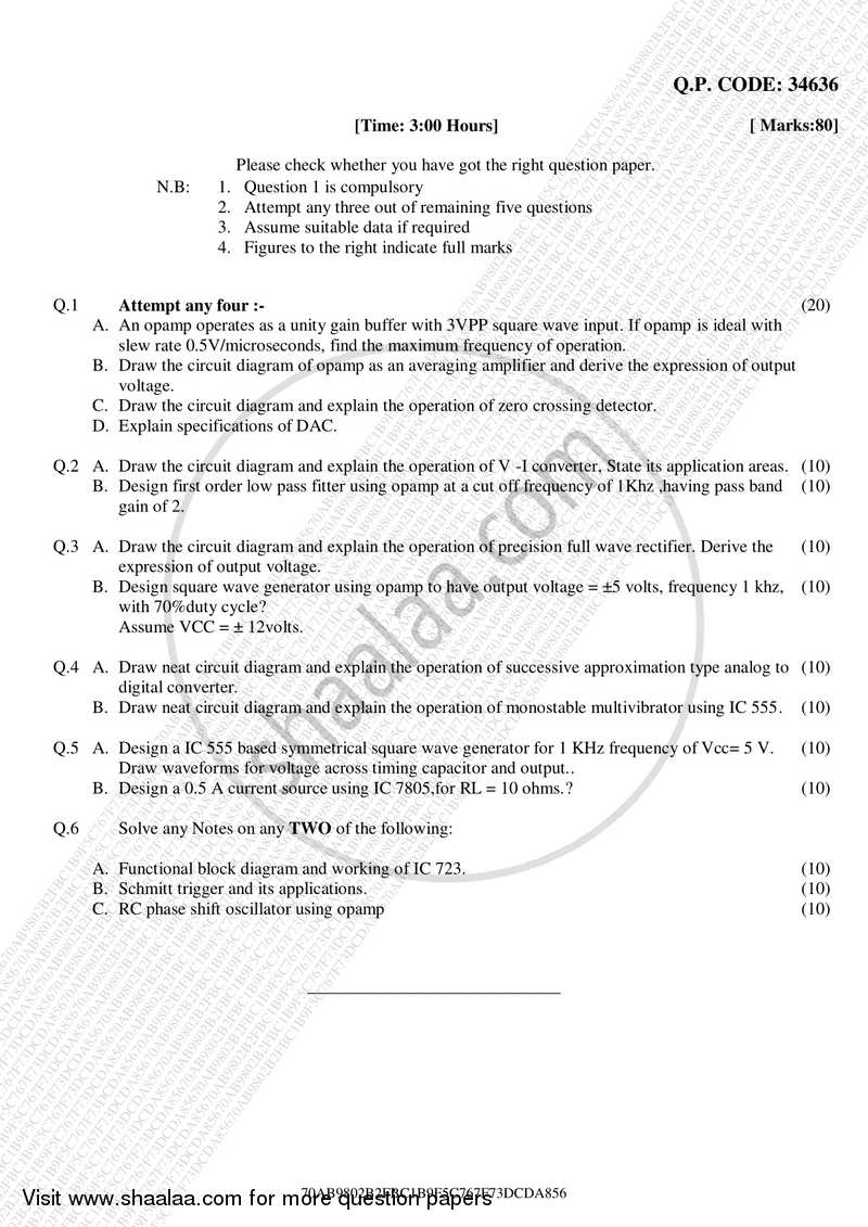 Question Paper Design With Linear Integrated Circuits 2017 2018 Be Circuit Diagram Semester 5