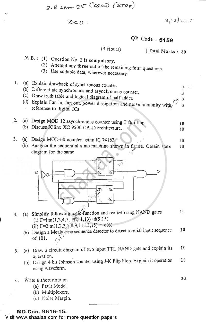 Question Paper - Digital Circuits and Design 2015 - 2016 - B.E. - Semester 3 (SE Second Year) - University of Mumbai