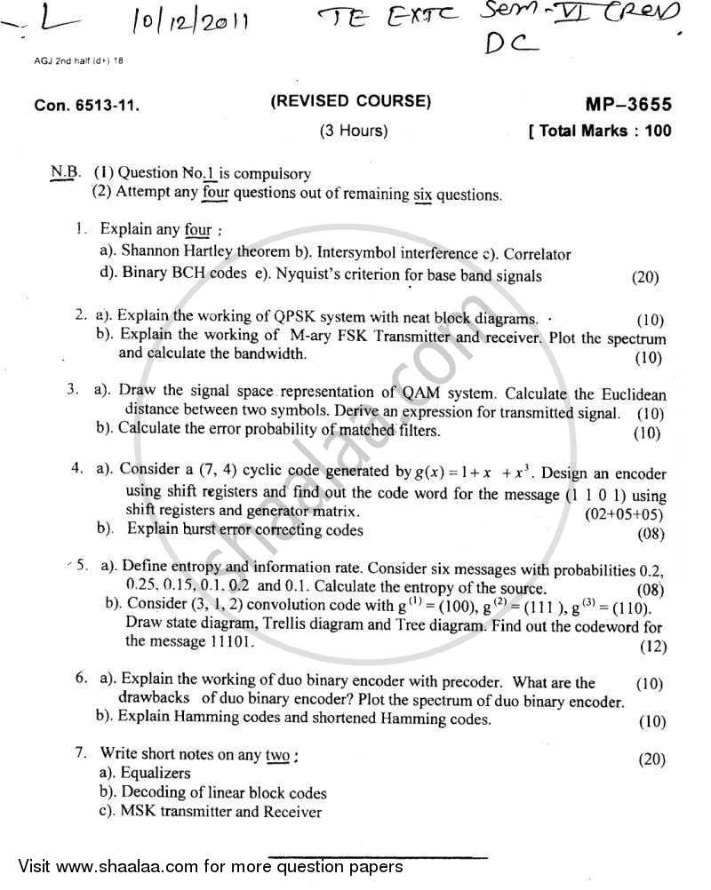 Question Paper - Digital Communication 2011 - 2012 - B.E. - Semester 5 (TE Third Year) - University of Mumbai