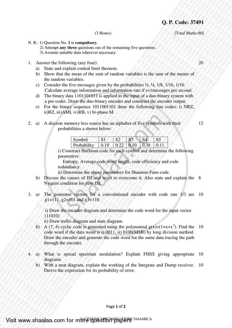 Question Paper - Digital Communication 2017-2018 - B.E. - Semester 5 (TE Third Year) - University of Mumbai with PDF download