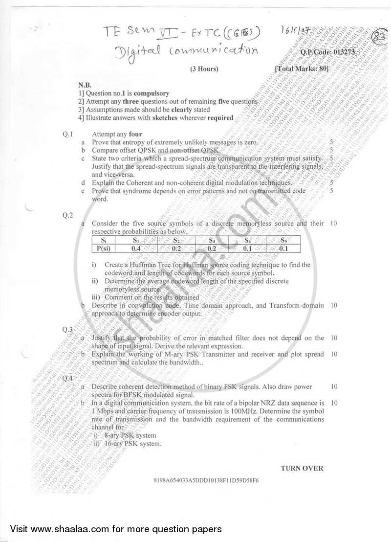 Question Paper - Digital Communication 2016-2017 - B.E. - Semester 6 (TE Third Year) - University of Mumbai with PDF download
