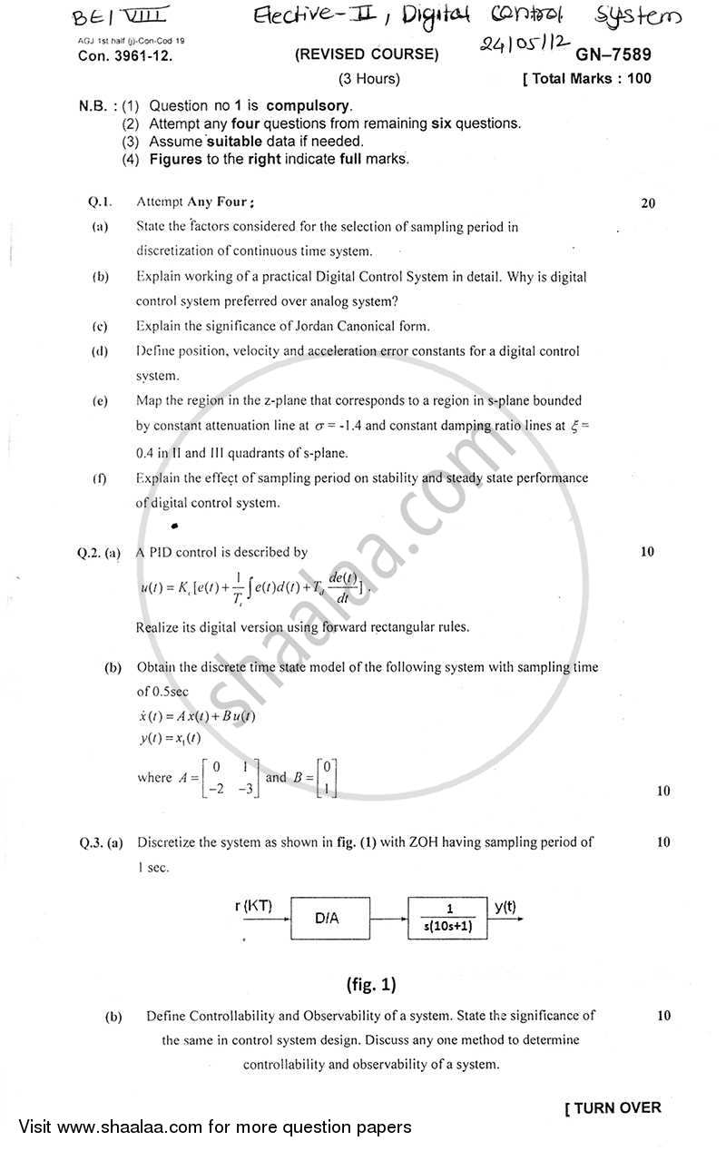 Question Paper - Digital Control System 2011 - 2012 - B.E. - Semester 8 (BE Fourth Year) - University of Mumbai