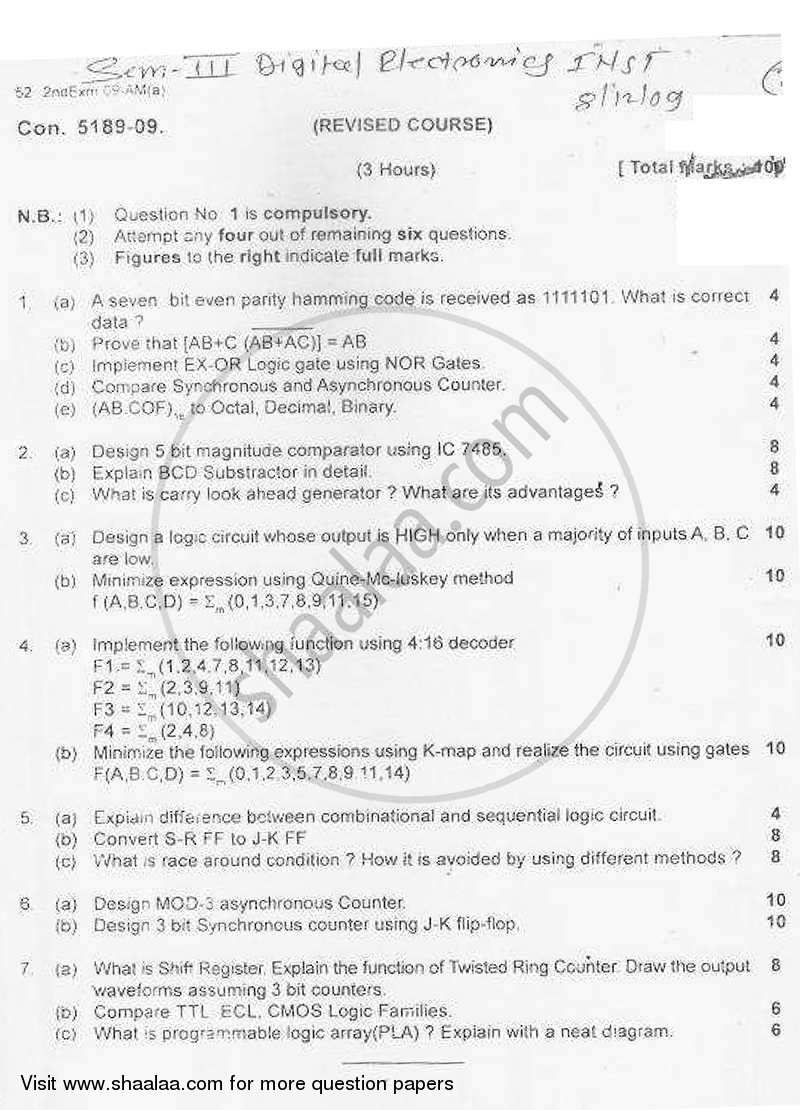 Question Paper - Digital Electronics 2009 - 2010-B.E.-Semester 3 (SE Second Year) University of Mumbai