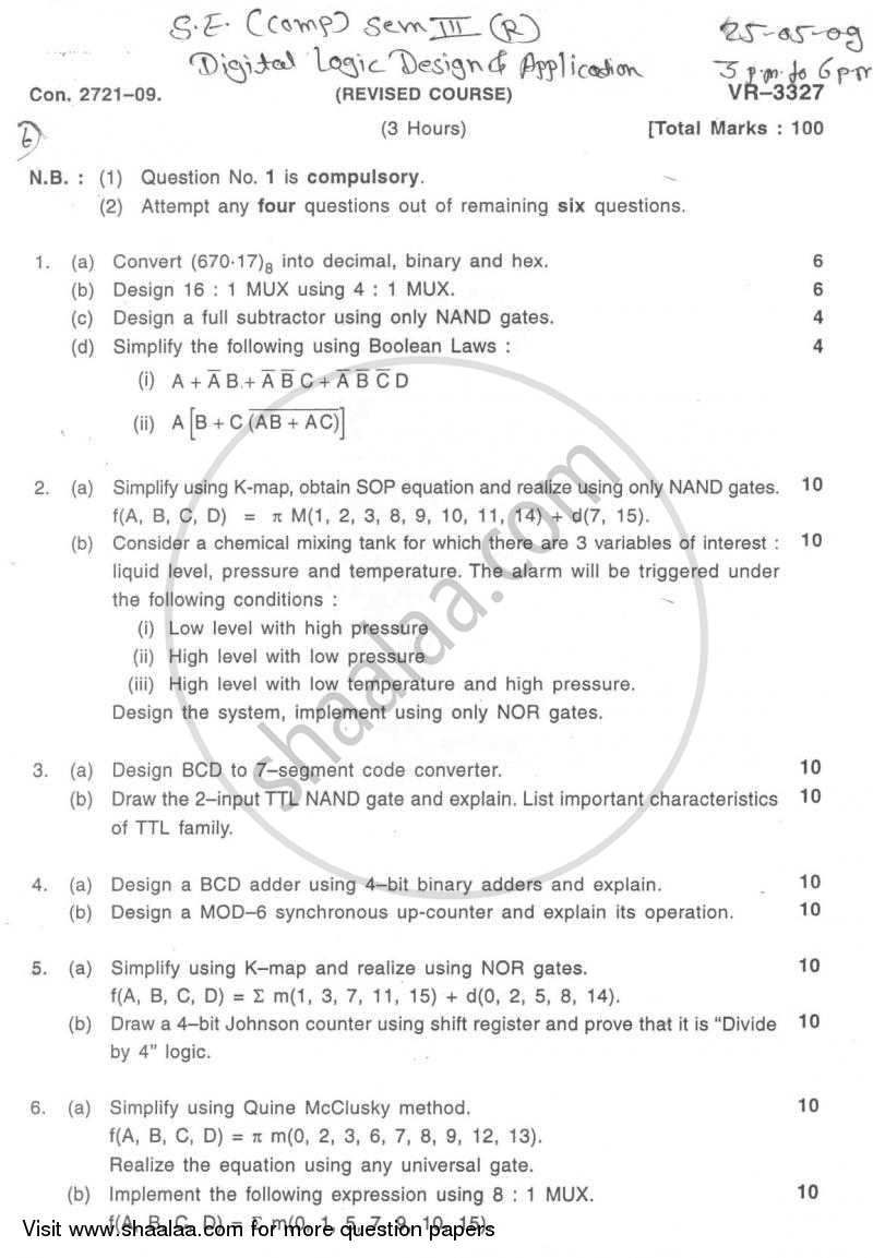 Question Paper - Digital Logic Design and Application 2008 - 2009 - B.E. - Semester 3 (SE Second Year) - University of Mumbai