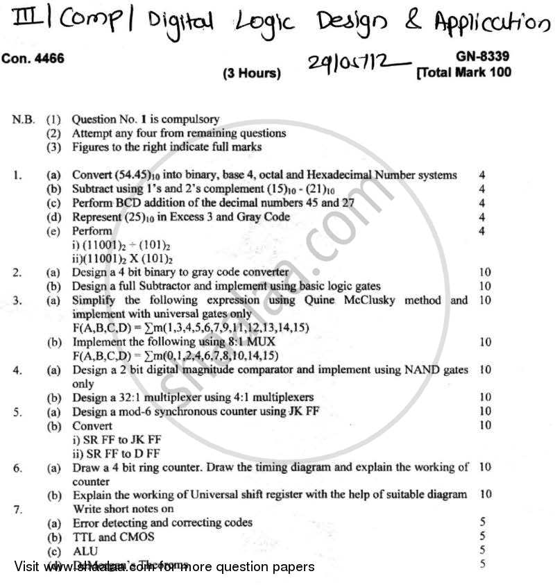 Question Paper - Digital Logic Design and Application 2011 - 2012-B.E.-Semester 3 (SE Second Year) University of Mumbai