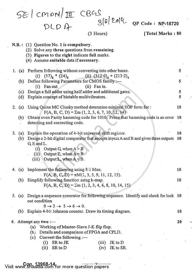 Question Paper - Digital Logic Design and Application 2013 - 2014 - B.E. - Semester 3 (SE Second Year) - University of Mumbai