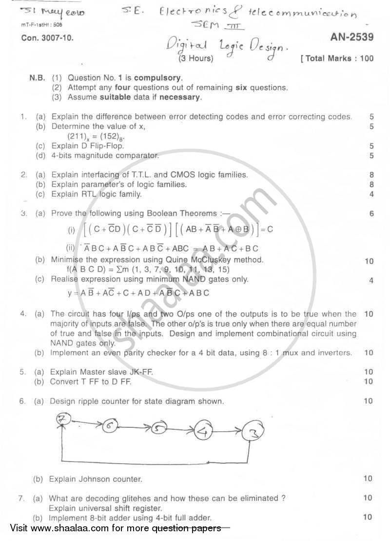 Question Paper - Digital Logic Design 2009 - 2010 - B.E. - Semester 3 (SE Second Year) - University of Mumbai