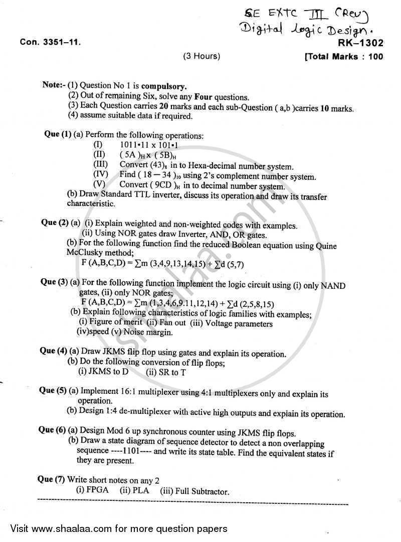 Question Paper - Digital Logic Design 2010 - 2011 - B.E. - Semester 3 (SE Second Year) - University of Mumbai