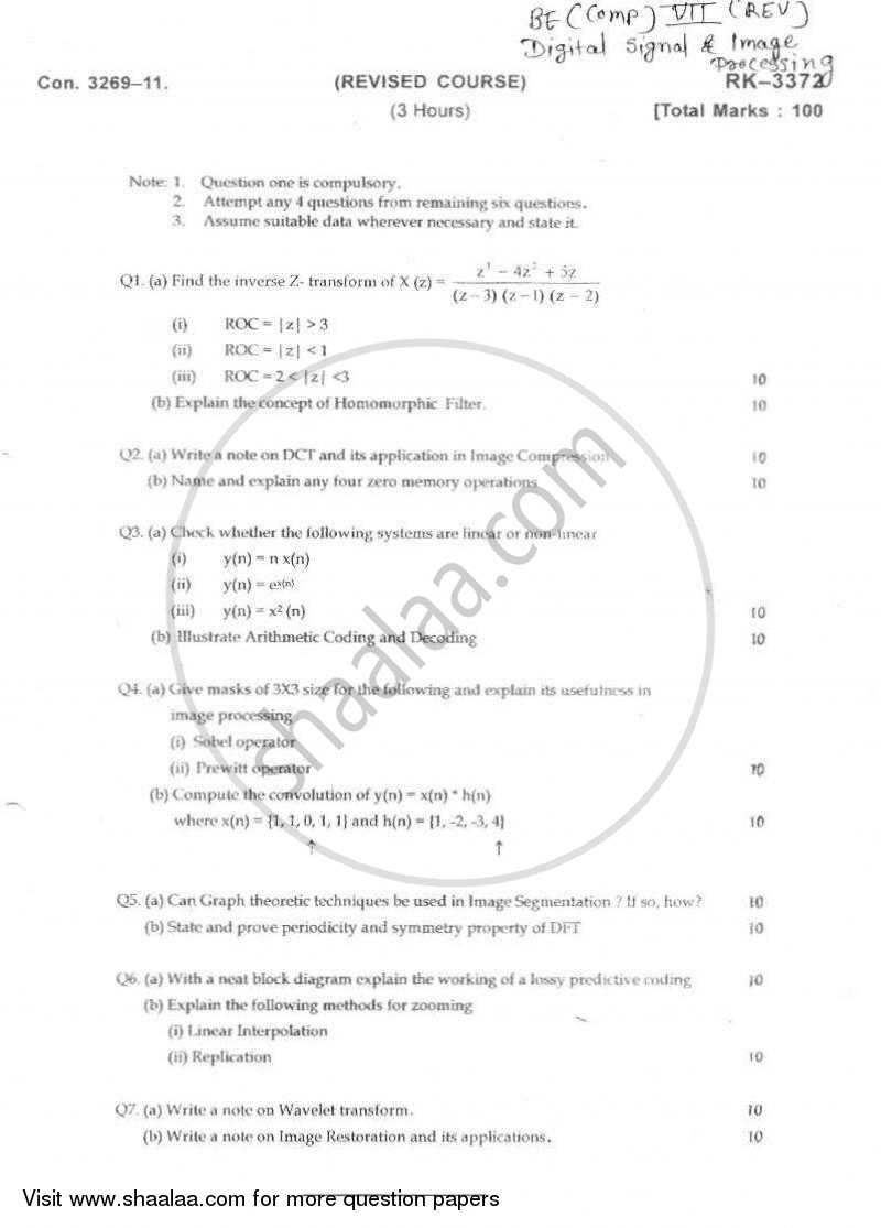 Question Paper - Digital Signal and Image Processing 2010-2011 - B.E. - Semester 7 (BE Fourth Year) - University of Mumbai with PDF download