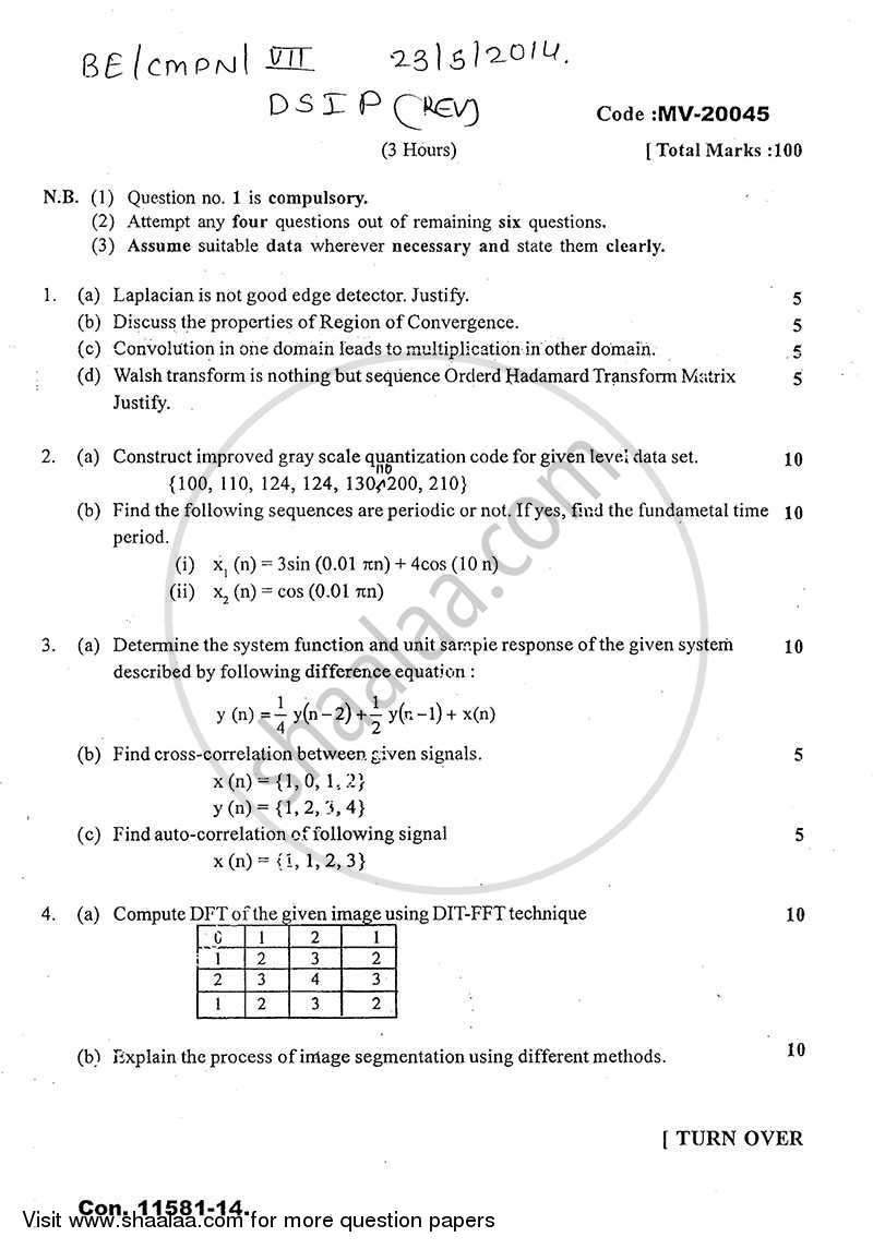 Question Paper - Digital Signal and Image Processing 2013 - 2014-B.E.-Semester 7 (BE Fourth Year) University of Mumbai