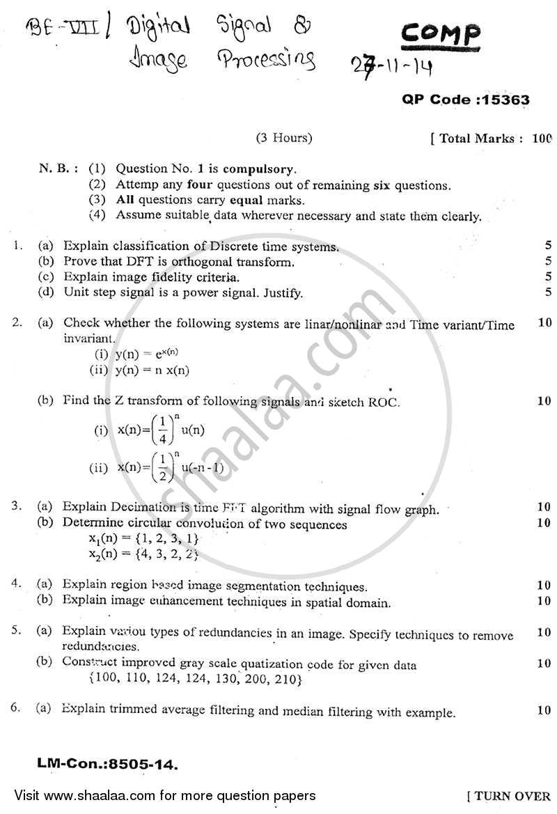 Question Paper - Digital Signal and Image Processing 2014 - 2015 - B.E. - Semester 7 (BE Fourth Year) - University of Mumbai