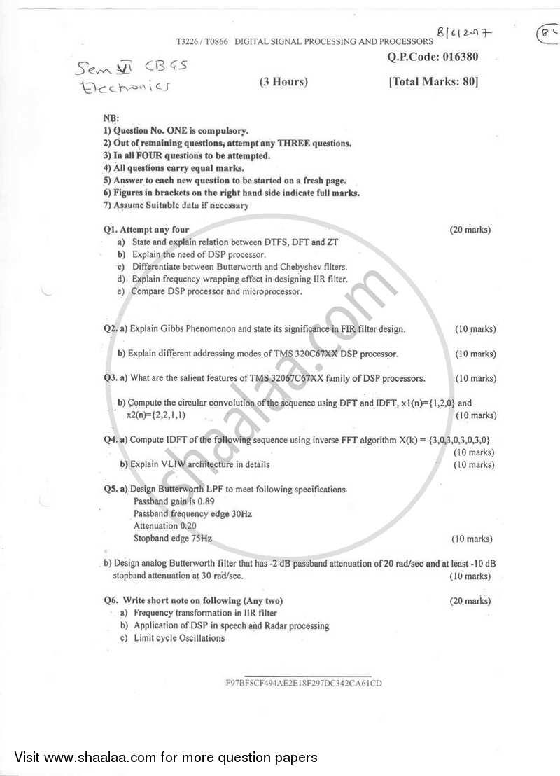 Question Paper - Digital Signal Processing and Processors 2016-2017 - B.E. - Semester 6 (TE Third Year) - University of Mumbai with PDF download