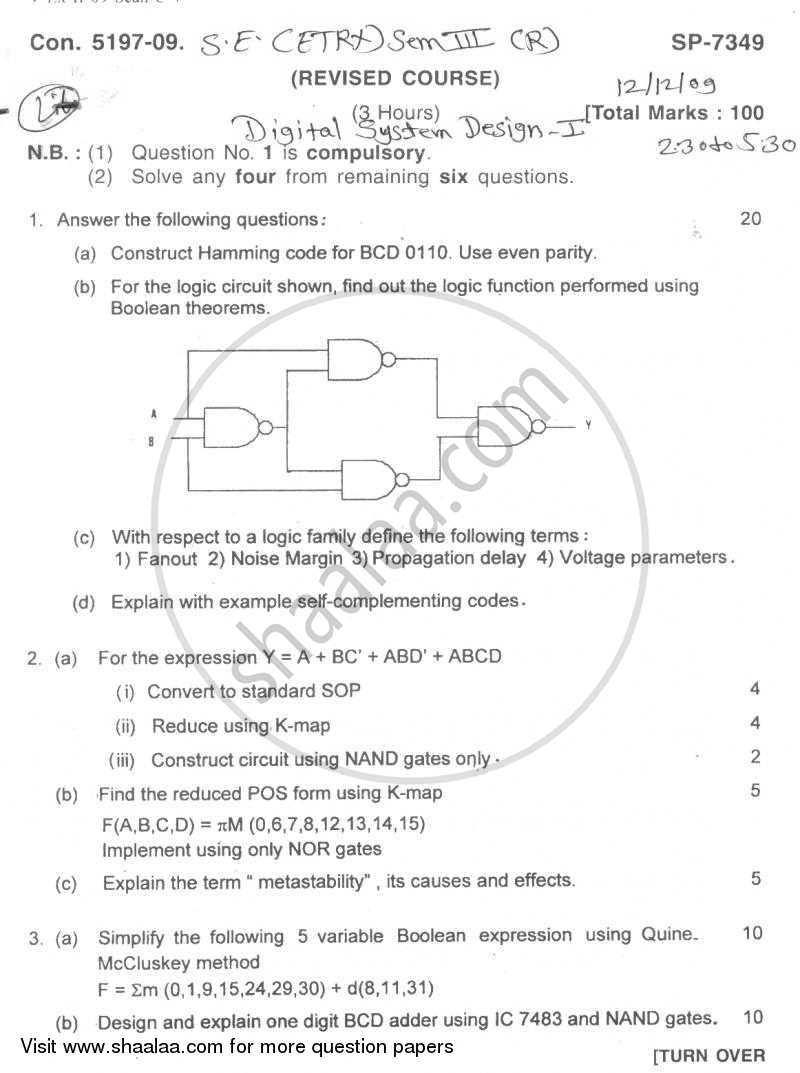 Question Paper - Digital System Design-1 2009 - 2010 - B.E. - Semester 3 (SE Second Year) - University of Mumbai
