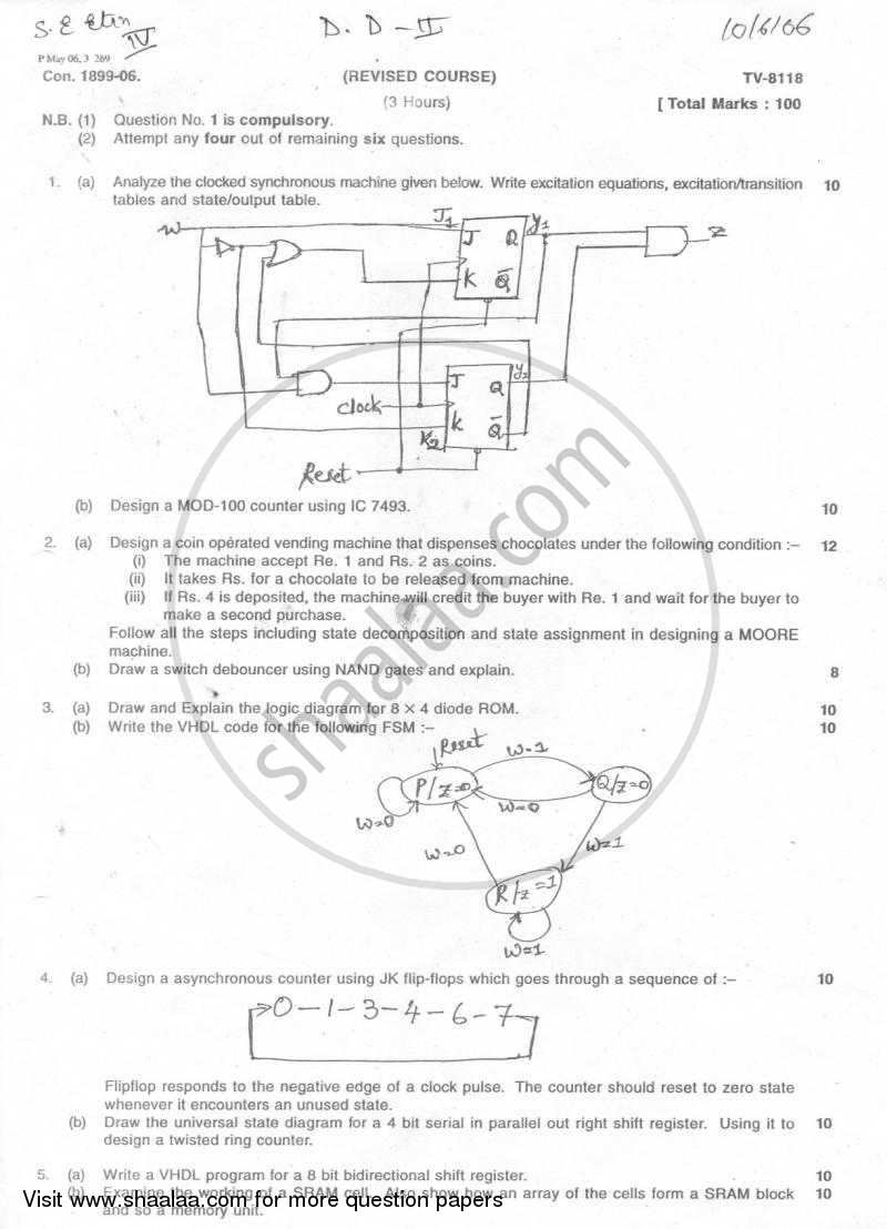 Question Paper - Digital System Design -2 2005 - 2006 - B.E. - Semester 4 (SE Second Year) - University of Mumbai