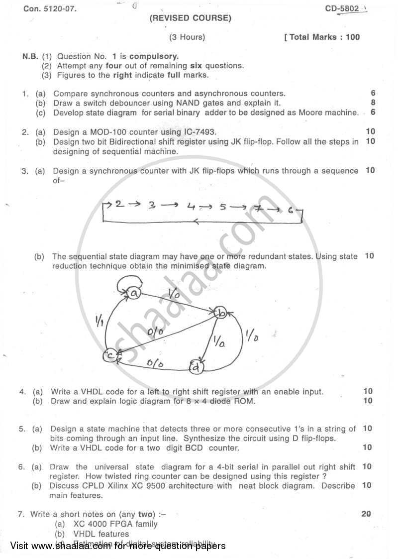 Question Paper - Digital System Design -2 2007 - 2008 - B.E. - Semester 4 (SE Second Year) - University of Mumbai