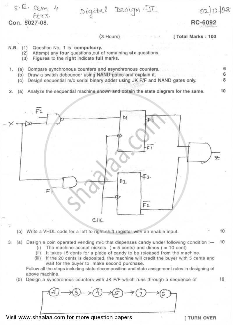 Question Paper - Digital System Design -2 2008 - 2009 - B.E. - Semester 4 (SE Second Year) - University of Mumbai