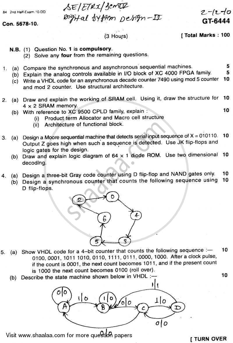 Digital System Design -2 2010-2011 - B.E. - Semester 4 (SE Second Year) - University of Mumbai question paper with PDF download