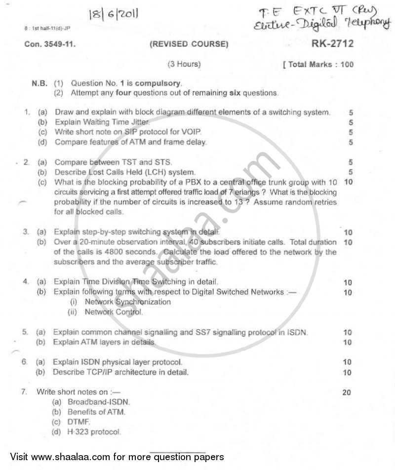 Question Paper - Digital Telephony 2010 - 2011-B.E.-Semester 6 (TE Third Year) University of Mumbai