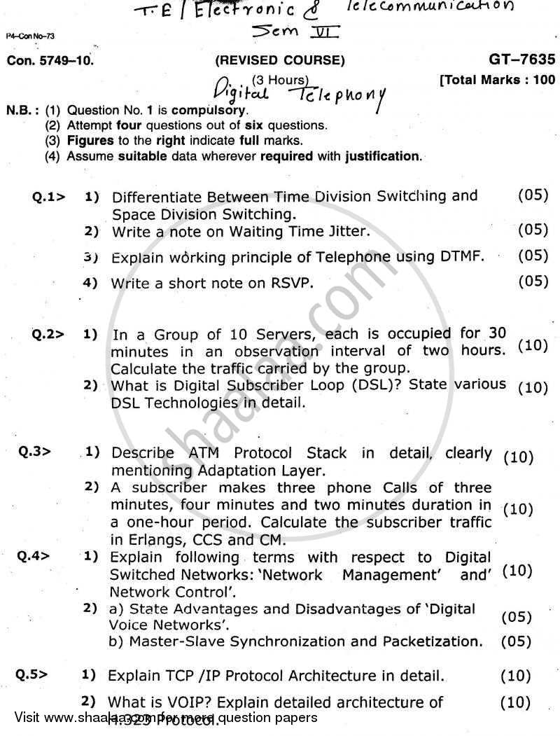 Question Paper - Digital Telephony 2010 - 2011 - B.E. - Semester 6 (TE Third Year) - University of Mumbai