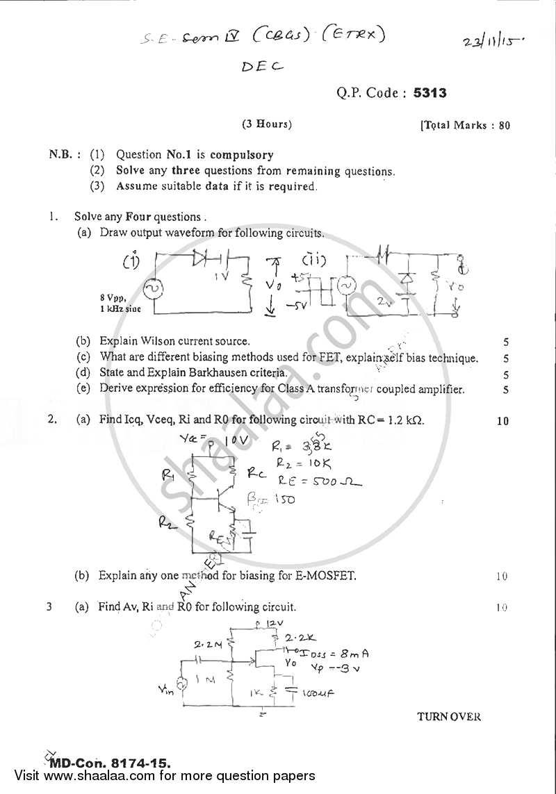 Question Paper Discrete Electronic Circuits 2015 2016 Be Fet Biasing Semester 4 Se