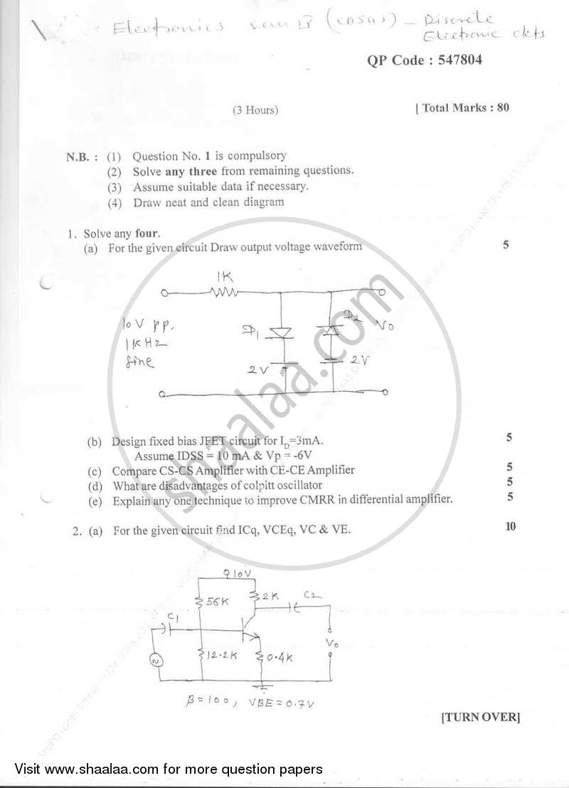 Question Paper - Discrete Electronic Circuits 2016-2017 - B.E. - Semester 4 (SE Second Year) - University of Mumbai with PDF download