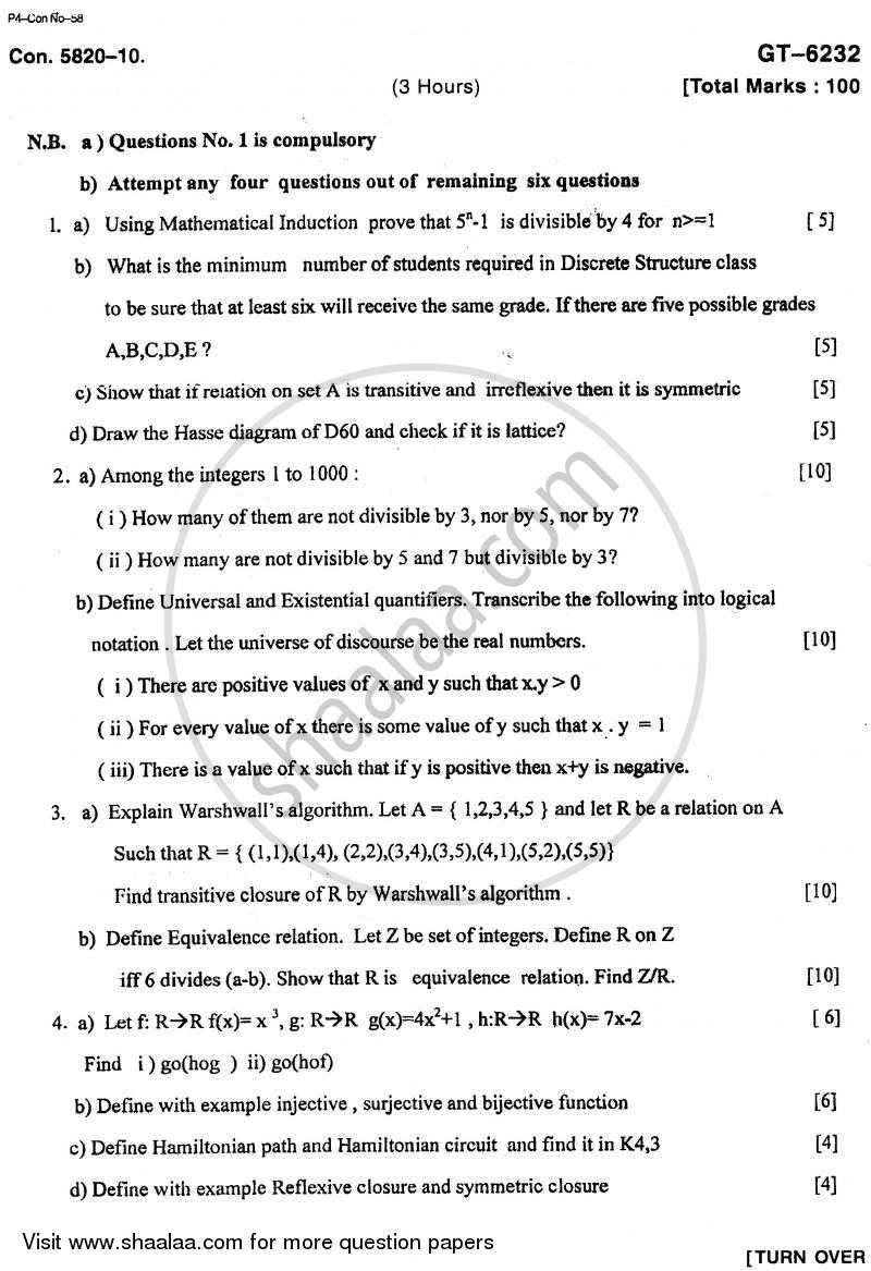 Question Paper - Discrete Structure and Graph Theory 2010 - 2011 - B.E. - Semester 3 (SE Second Year) - University of Mumbai