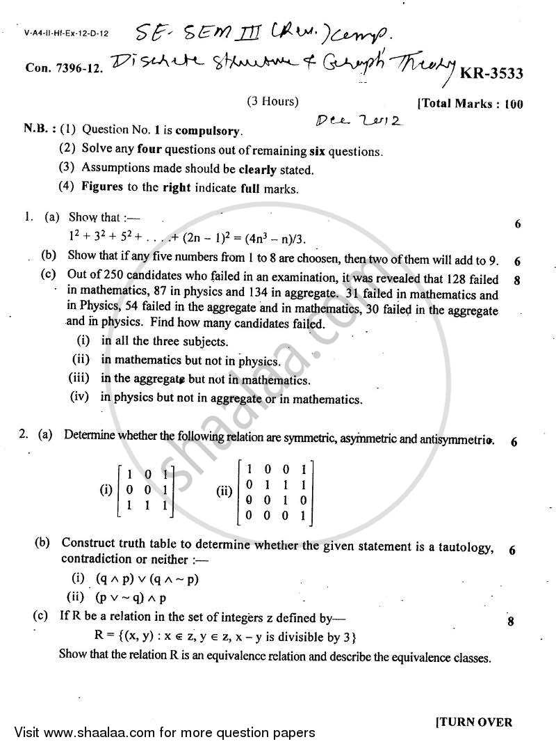 Question Paper - Discrete Structure and Graph Theory 2012 - 2013 - B.E. - Semester 3 (SE Second Year) - University of Mumbai