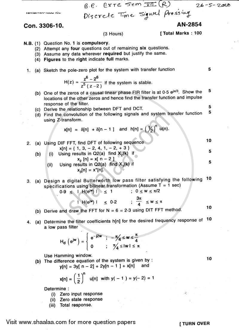 Discrete Time Signal Processing 2009-2010 - B.E. - Semester 7 (BE Fourth Year) - University of Mumbai question paper with PDF download