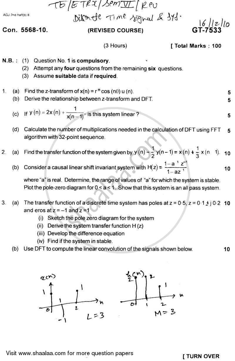 Question Paper - Discrete Time Signal and System 2010 - 2011 - B.E. - Semester 6 (TE Third Year) - University of Mumbai