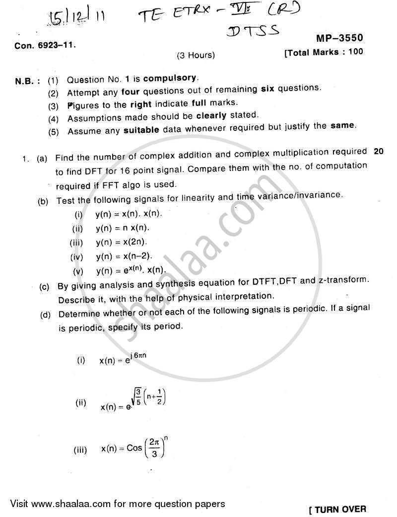 Question Paper - Discrete Time Signal and System 2011 - 2012 - B.E. - Semester 6 (TE Third Year) - University of Mumbai