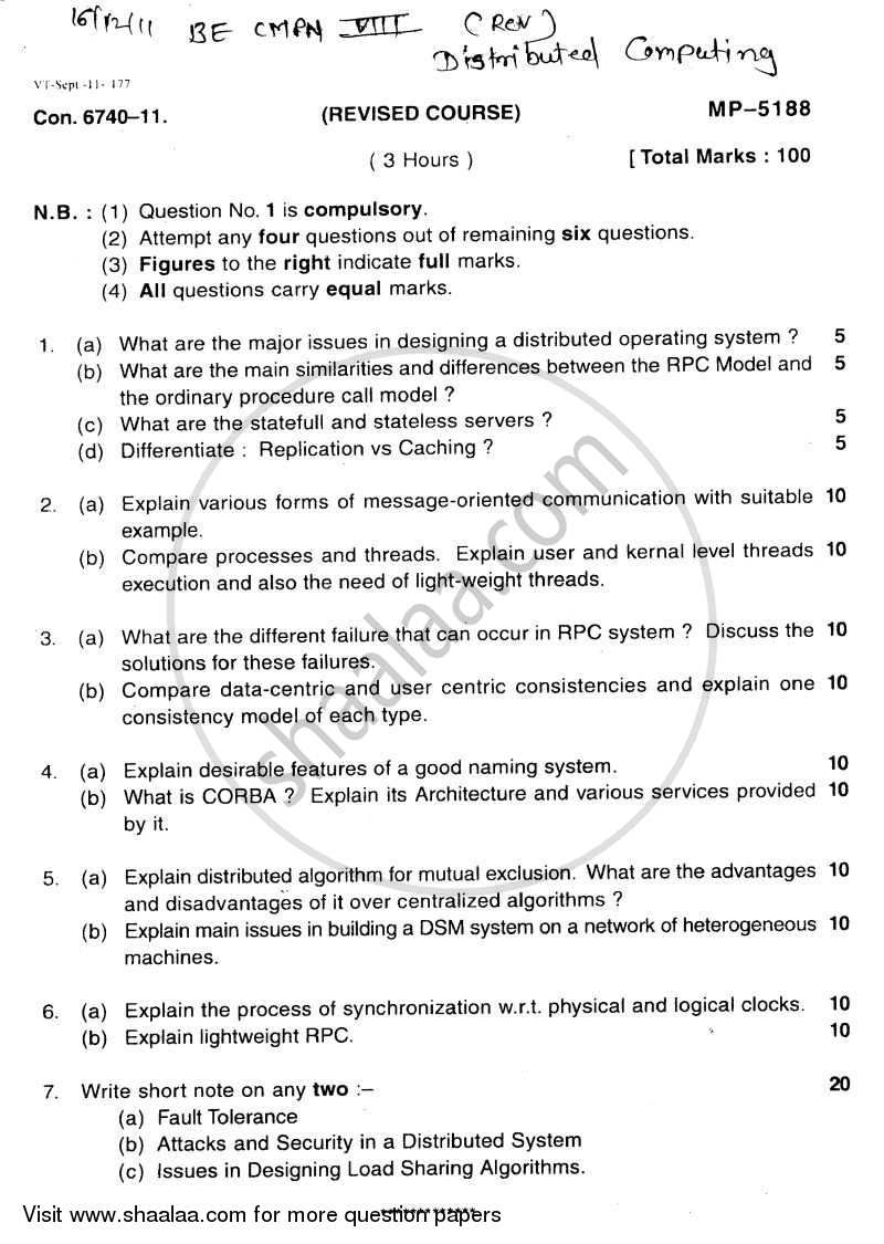 Question Paper - Distributed Computing 2011 - 2012-B.E.-Semester 8 (BE Fourth Year) University of Mumbai