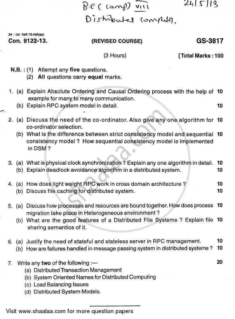 Question Paper - Distributed Computing 2012 - 2013 - B.E. - Semester 8 (BE Fourth Year) - University of Mumbai