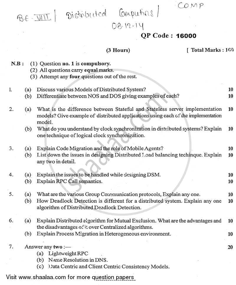 Question Paper - Distributed Computing 2014 - 2015 - B.E. - Semester 8 (BE Fourth Year) - University of Mumbai