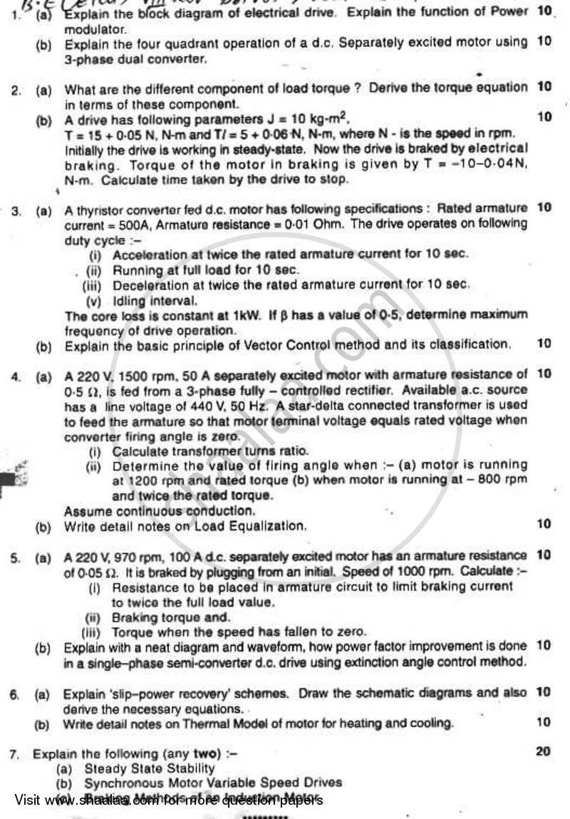 Question Paper - Drives and Control 2008 - 2009 - B.E. - Semester 8 (BE Fourth Year) - University of Mumbai
