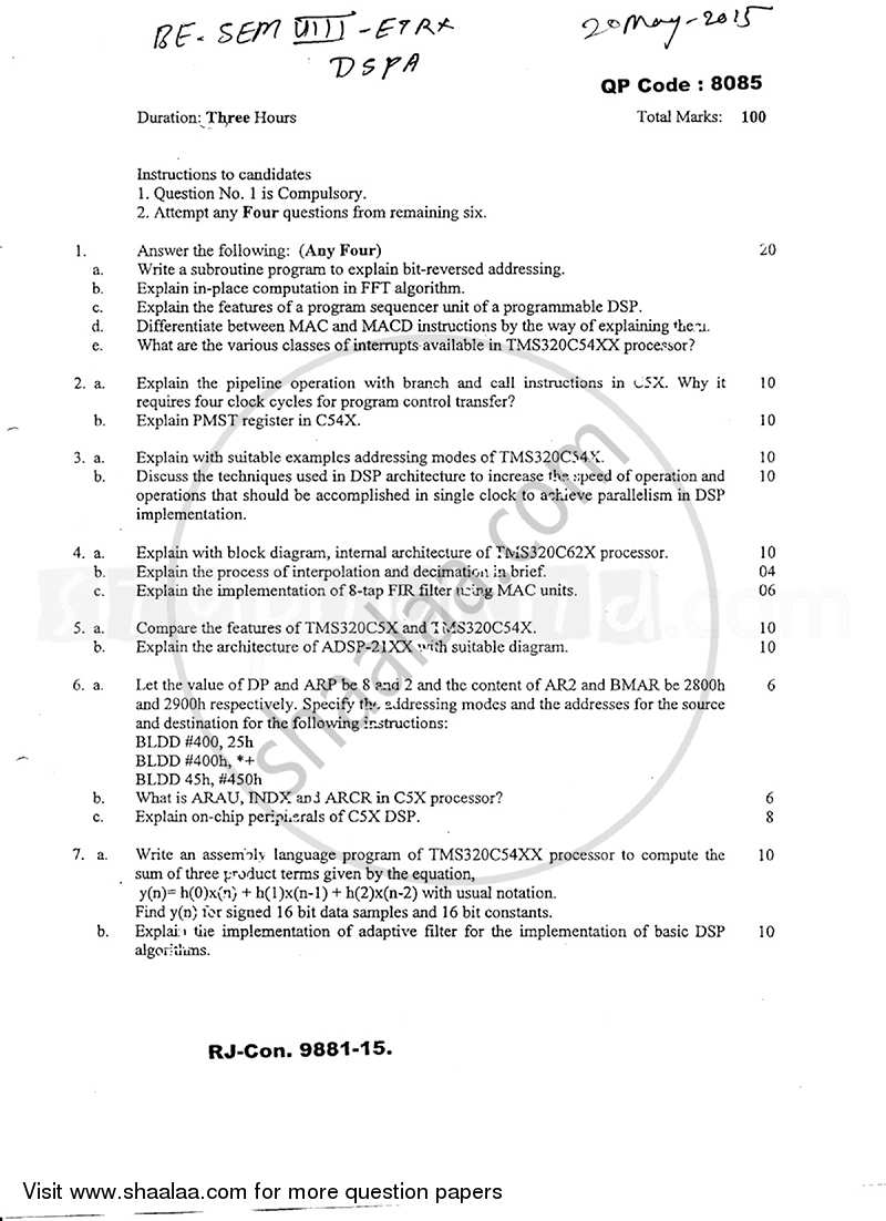Question Paper - Dsp Processors and Architectures 2014 - 2015 - B.E. - Semester 8 (BE Fourth Year) - University of Mumbai